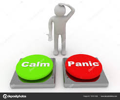 Calm Panic Buttons Show Panicking Or Calmness Counseling . 3d re ...